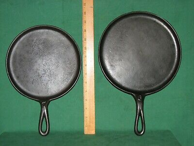 VINTAGE EMBOSSED #7 and #8 CAST IRON ROUND FLAT GRIDDLE PAN