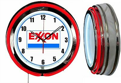 "Exxon Gas and Oil 19"" Double Neon Clock Red Neon Man Cave Garage Gas Station"