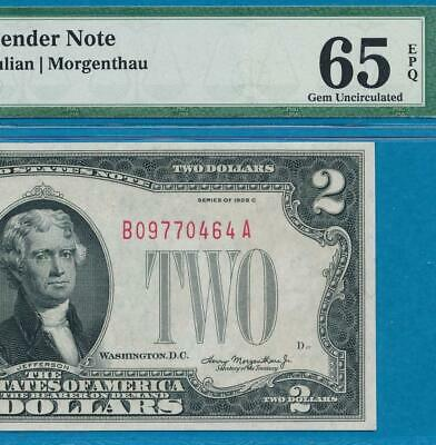 $2.00 1928-C  Red Seal  Pmg Gem New 65Epq United States Note