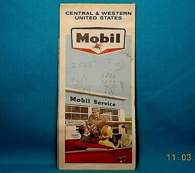 MOBIL Gas Station HIGHWAY ROAD MAP / Central & Western United States 1965