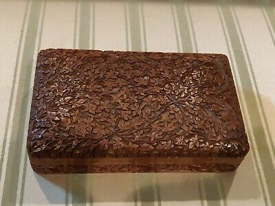 Wooden Chinese Asian Oriental Carved Box Tinker Jewelery Vintage floral leaves