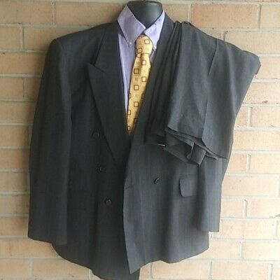 Town Craft Pin Striped Wool Suit Mens double breasted Jacket 44R Pant 36/30