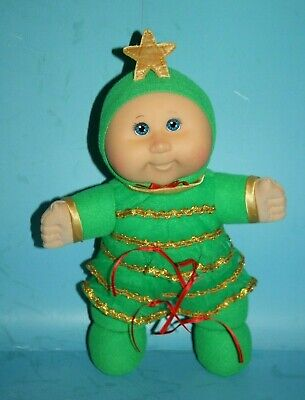 """Holiday CPK Cabbage Patch Kid Baby Doll 12"""" Girl BLUE Eyes Xmas Tree Plush 2007"""