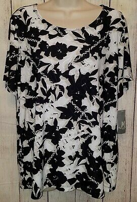 Womens JM Collection Lot of 2 Blouses Tops Shirts Size 1X NWT! NWOT! Black Blue