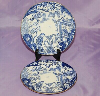 "1930's Royal Crown Derby BLUE MIKADO 8 1/8"" Inch Bread Side Dessert Salad Plates"