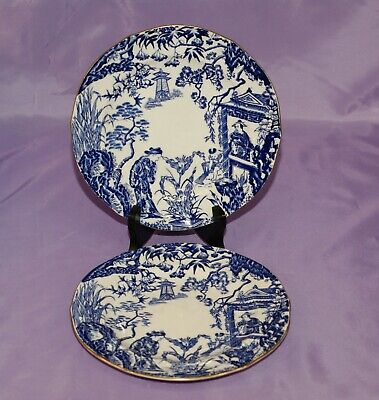 "Royal Crown Derby BLUE MIKADO 8 1/4"" Inch Bread Side Dessert Salad Plates"