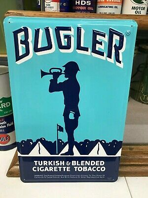 """""""BUGLER TOBACCO"""" METAL ADVERTISING SIGN (17""""x 11"""") UNUSED/NEAR MINT CONDITION"""