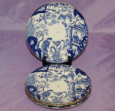 "[3] 1927 Royal Crown Derby BLUE MIKADO 8 1/8"" Bread Side Dessert Salad Plates"