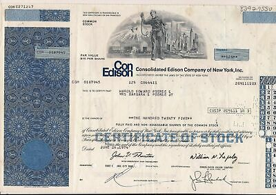Stock certificate Consolidated Edison Twin Towers World Trade Center blue