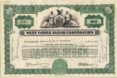 Stock Certificate West Indies Sugar Corporation 100 Shares