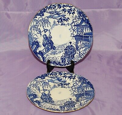 "1951 Royal Crown Derby BLUE MIKADO 9"" Inch Dinner Dessert Salad Plate"