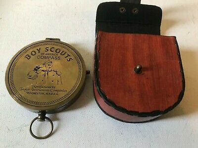 Solid Brass Large Boy Scout Compass With Leather Case