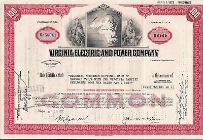 Stock certificate Virginia Electric & Power Comp. to Colonial National Bank