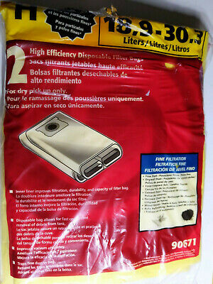 Shop Vac 5-8 Gallon for Dry Pick Up Filter Bags Type H 90671 NEW opened pkg