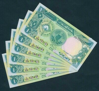 """Suuudan: 1985 £1 Lot of 6 including LUCKY NUMBER """"555"""". Pick 32 UNC"""