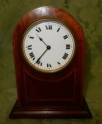 Edwardian Inlaid Dome Topped Mahogany Mantle Clock Buren Movement