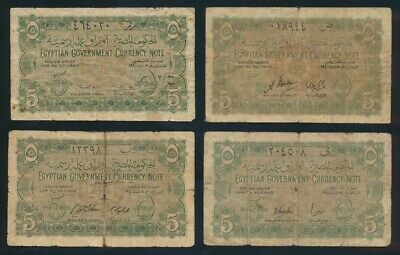 """Egypt: 1940 5 Piastres """"SET OF 4 DIFF SIGS"""". P163 VG to F - Cat VF $533, VG $107"""