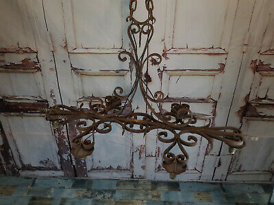 Antique Vintage French 19th Century Gothic Wrought Iron Chandelier Ceiling Light