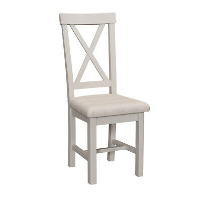 Charles Bentley Sandford Pair Dining Chairs Grey Soft Fabric Seat - 92x42x39cm