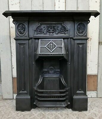 An Ornate Reclaimed Victorian Cast Iron Combination Fire Fc0081