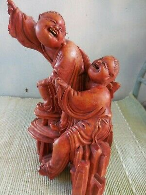 Vintage/Antique Chinese Carved Wood Boys Playing With Bat Figure -As Seen-
