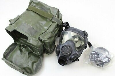 GENUINE POLISH / FRENCH ARMY PANORAMIC GAS MASK MP5 in BLACK + FILTER in BAG