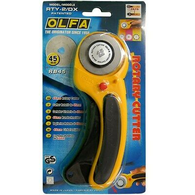 OLFA 45mm Deluxe Handle Rotary Cutter - RTY-2/DX -Ergonomic Deluxe Safety Design