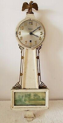 Antique Working WATERBURY 1930's Mechanical Wind-Up 8 Day Deco Banjo Wall Clock