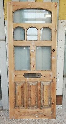 A BEAUTIFUL VICTORIAN FRONT DOOR WITH ETCHED GLASS ARCHED PANELS ref DE0845