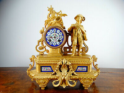 Antique French Sevres Porcelain & Gilt Metal Figural Mantel Clock by Japy Freres