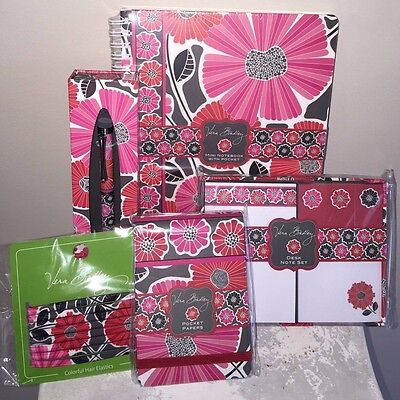 VERA BRADLEY CHEERY BLOSSOMS Pen Elastics Pocket Papers Mini Notebook Desk Set