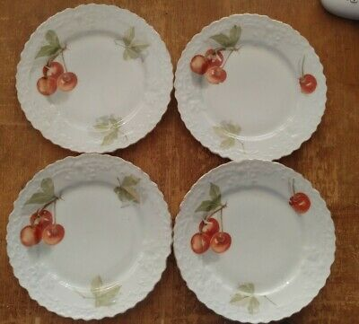 4 Antique Unmarked Bavarian Embossed Hand Painted Cherry Cherries Bread Plates