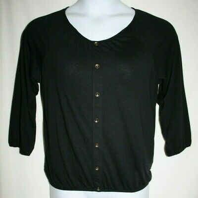 Style & Co Misses SMALL Scoopneck Stretch Knit 3/4 Sleeve Top Elastic Hem Black