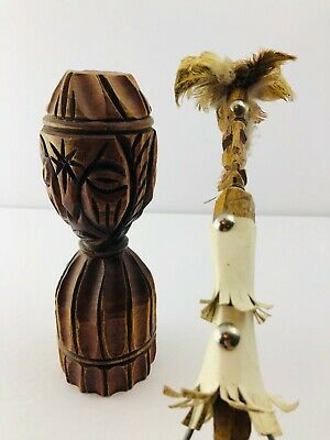 Vintage Haitian Wood  Statue Voodoo Hand Carved Two Faced Star