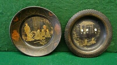 Two Antique Chinese Papier Mache Hand Painted Plates.