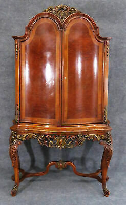 Fine Quality Tall Carved Satinwood French Louis XV China Liquor Cabinet C1920s