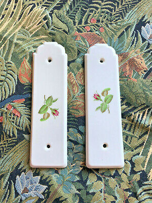 2 x Dainty Antique French Painted Porcelain Door Finger Plates with Roses 22cm
