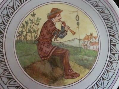 Dated 1874 Minton Aesthetic Movement Hand Painted Cabinet Plate, Piper
