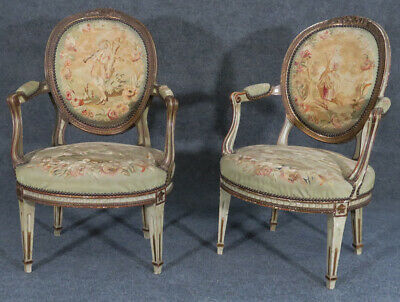Rare Pair 1870s French Louis XVI Painted Aubusson Fauteuils Armchairs