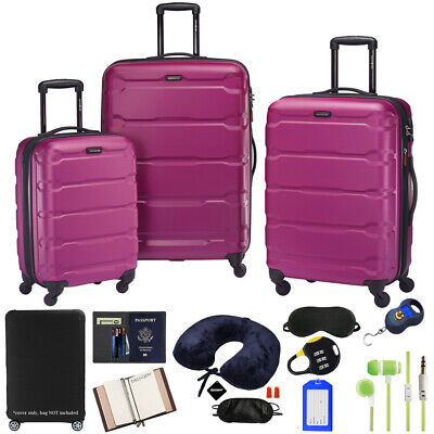Samsonite Omni Hardside Luggage Nested Spinner Set w/ 10pc Accessory Kit