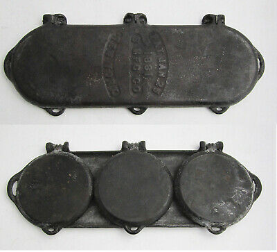 Rare Antique 1881 S Mfg Co New York Cast Iron 3 Plate Flop Griddle Pancake Pan