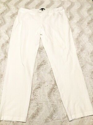 EILEEN FISHER White Cropped Ankle Pants Elastic Waistband Size Medium