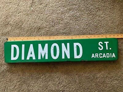 Vintage Porcelain Street Sign  Road Sign Diamond st  Green double sided