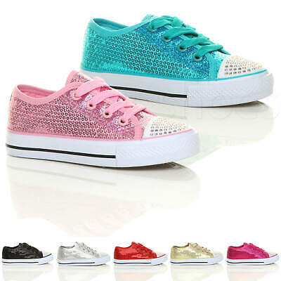 Girls Kids Childrens Flat Glitter Lace Up Plimsoles Trainers Sneakers Size