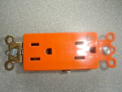 Pass & Seymour IG26322, Orange Decorator Style DUPLEX RECEPTACLE 15A used