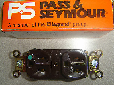 Pass & Seymour 9300-HG, Hospital Grade Brown DUPLEX RECEPTACLE 20A factory box