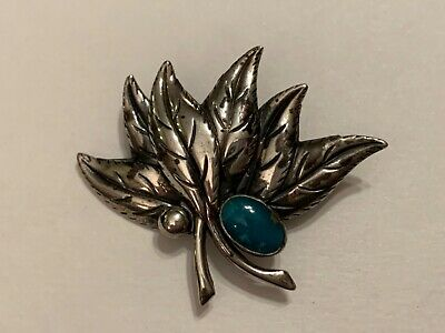 Vintage Sterling Silver Leaf & Turquoise Stone Pin Brooch