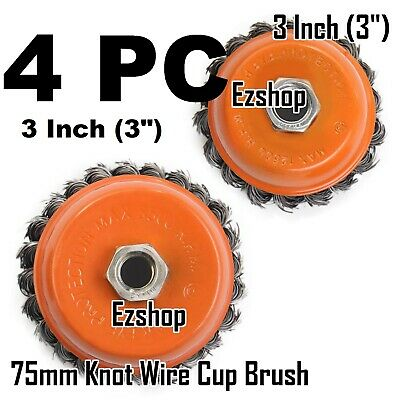 "4 PC 3"" x 5/8""-11 NC FINE Knot Wire Cup Brush Twist - For 4-1/2"" Angle Grinders"