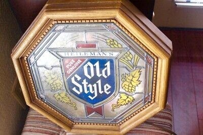 vtg Old Style Beer Lighted bar Sign - Faux Stained Glass CHICAGO pub
