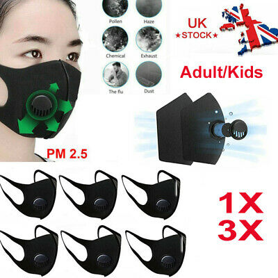 1/3 PCS Breathable Anti Air Pollution Face Mouth Mask Filter Haze Respirator UK